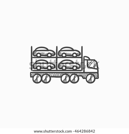 Car Carrier Vector Sketch Icon Isolated On Background Hand Drawn