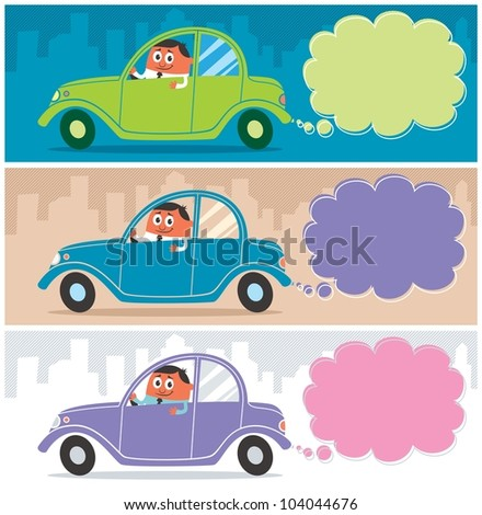Car: Cartoon character driving his car. Use the smoke as a copy space for your message. The illustration is in 3 versions. The size of each banner is in 1:3 ratio. No transparency and gradients used. - stock vector
