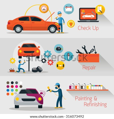 Car Check Up, Repair, Refinishing Banner, Automobile Service and Maintenance - stock vector