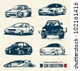 Car collection. Drawing set 1. - stock vector