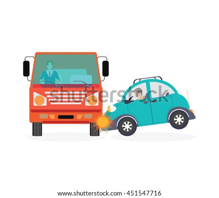Car crash, accident car isolated on white background, conceptual Vector Illustration. - stock vector