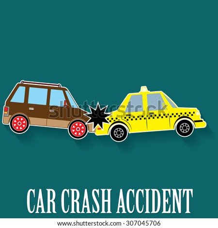 car crash accident in color sticker mode and vector style. - stock vector