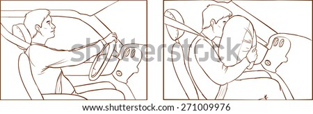 car crash and airbag deployment of - stock vector