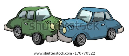 Car crash, cartoon vector illustration - stock vector