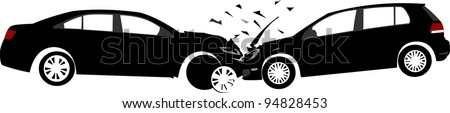 Car crash concept. Layered vector illustration - stock vector