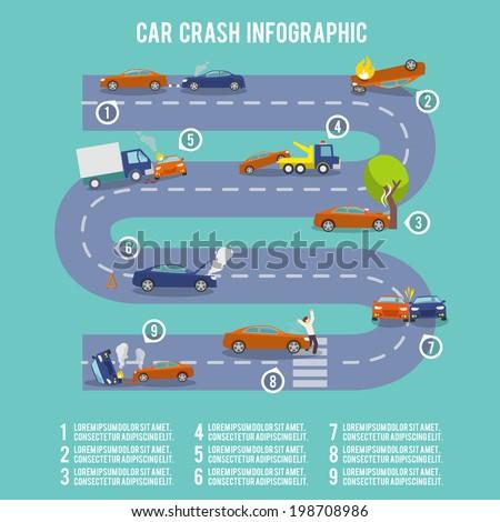 Car crash infographic set with damaged auto burning vehicle vector illustration - stock vector