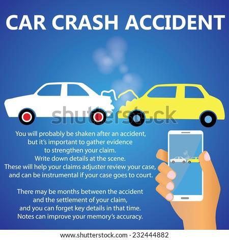 Car crash rear-end collisions - stock vector