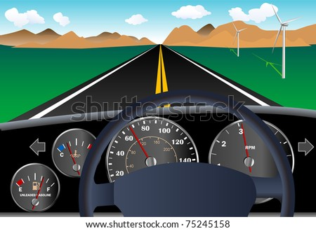 Car dashboard on road highway