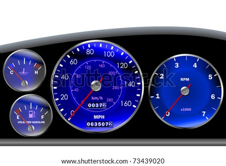 Car dashboard or speedometer for motor or sportscar in blue - stock vector