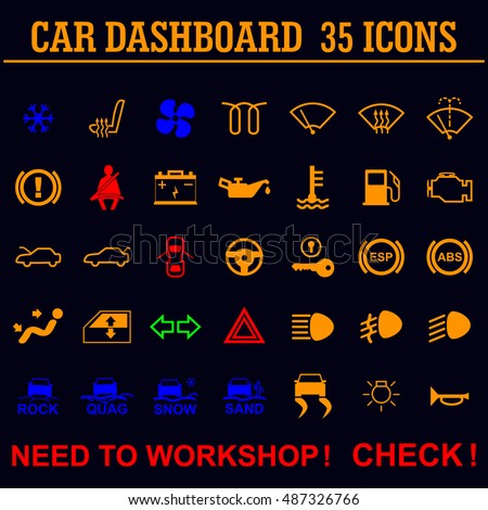 Set Simple Illuminated Car Dashboard Icons Stock Vector