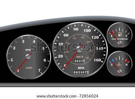 Car dashboard speedometer - vector - stock vector