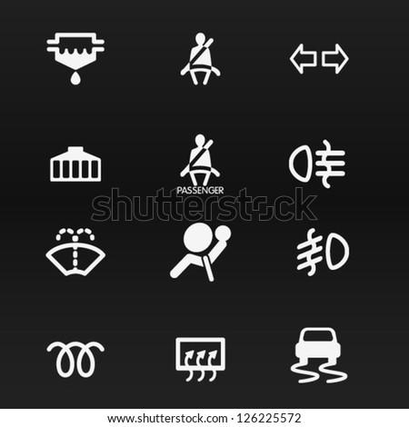 Car dashboard vector icons set 1 - stock vector