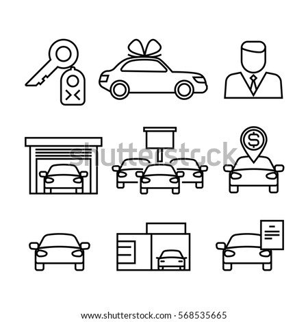 Car Dealerships Purchase Sale Cars Line Stock Vector