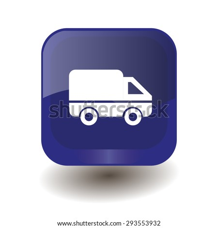 car (delivery) icon on dark blue button - stock vector