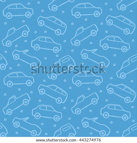 Car Doodles in Traffic Jam Seamless Pattern Vector Background