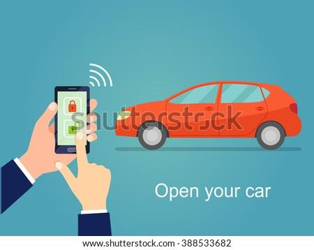 Car door lock and unlock by smartphone. Flat vector illustration  - stock vector