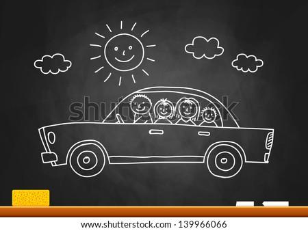 Car drawing on blackboard - stock vector