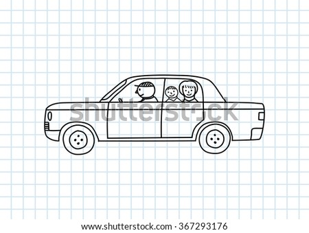 Car drawing on squared paper - stock vector
