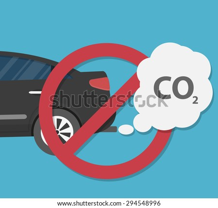 Car emits carbon dioxide. Antipollution concept. vehicle pollution - stock vector