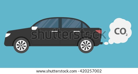 Car emits carbon dioxide. flat style - stock vector