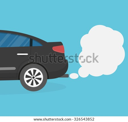 Car emitting smoke. Flat style - stock vector