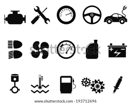 car engine icons set - stock vector