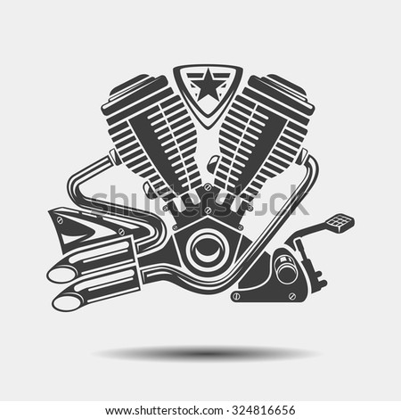 Car engine or motorbike motor black icon. Power motor, metallic cylinder, vector illustration - stock vector