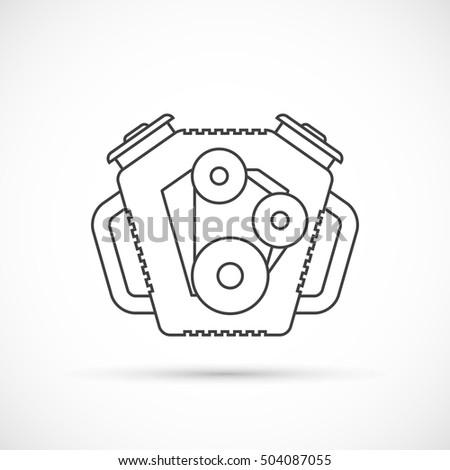 Car Engine Outline Icon Stock Photo (Photo, Vector, Illustration ...