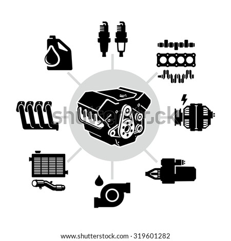 Car Engine Parts Vector Icons  - stock vector