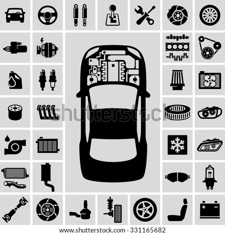 Car Engine Parts Vector Icons Stock Vector 331165682 - Shutterstock