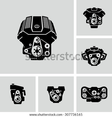 Car Engine Vector Icons Stock Vector Royalty Free 307736165