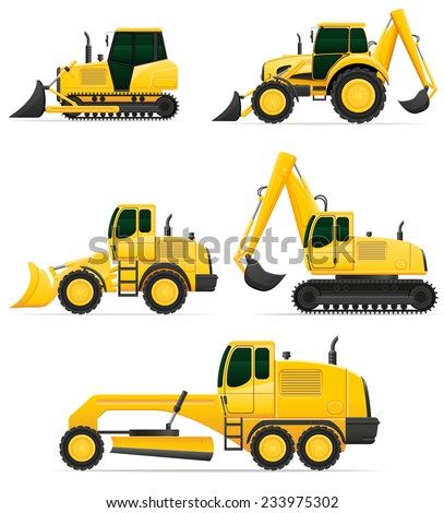 car equipment for construction work vector illustration isolated on white background - stock vector