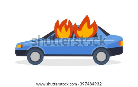Car fire danger automobile road burn and car fire emergency auto destruction. Car fire safety burning blaze accident. Burning car fire suddenly started engulfing all the car accident danger vector. - stock vector