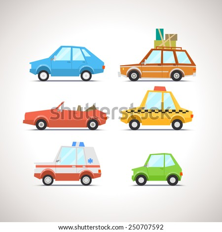 Car Flat Icon Set 1 - stock vector
