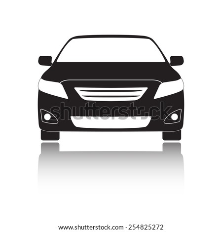 Car front icon or sign. Black vehicle silhouette isolated on white background. Vector illustration. - stock vector