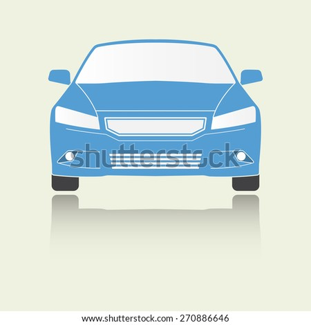 Car front view icon or sign. Colorful vector illustration of vehicle. Flat design. - stock vector