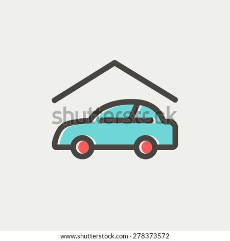 Car garage icon thin line for web and mobile, modern minimalistic flat design. Vector icon with dark grey outline and offset colour on light grey background. - stock vector