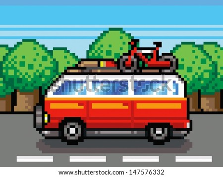 car going for summer holiday trip - retro pixel vector illustration - stock vector