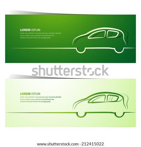 Car green banners - vector illustration - stock vector