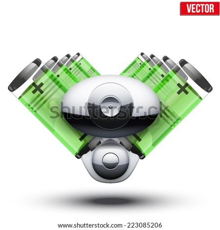 Car hybrid engine with battery container and metal pistons. Vector illustration isolated on white background. - stock vector