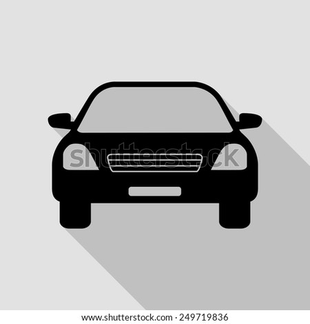 car icon - black illustration with long shadow - stock vector