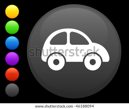 car icon on round internet button original vector illustration 6 color versions included - stock vector
