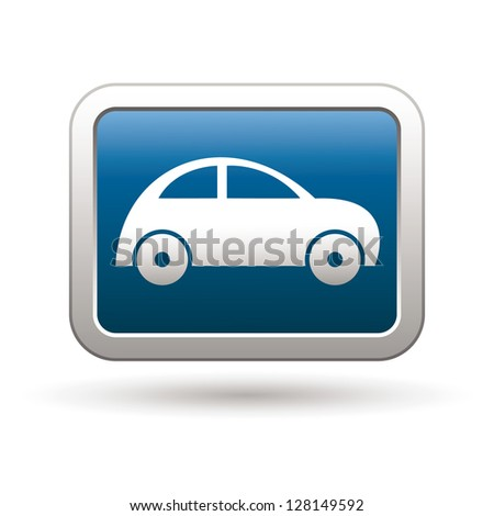 Car icon on the blue with silver rectangular button. Vector illustration - stock vector