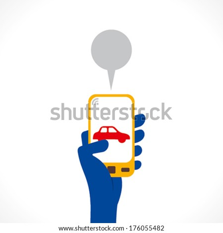 car icon or app display on mobile phone hold in hand vector - stock vector