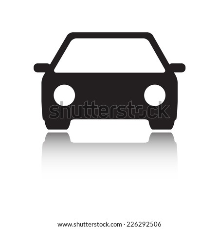 Car icon or sign. Vector black vehicle silhouette on white background. Web design element. - stock vector