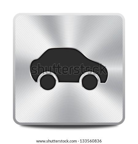 Car icon - round square metal button - stock vector