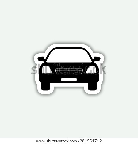 car icon - vector sticker - stock vector