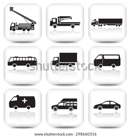 car icon with reflection on black and white square button.  - stock vector