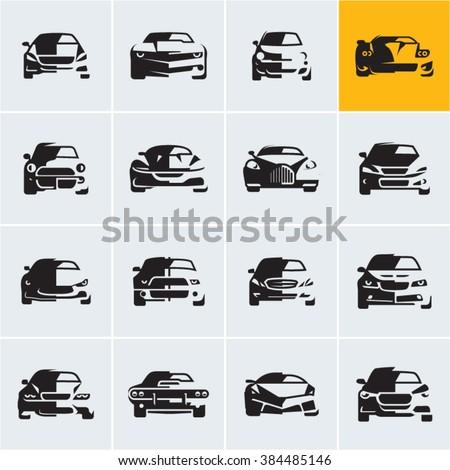 car icons,  graphic vector car silhouettes, car front view, car logo design - stock vector