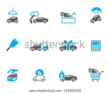 Car icons in duo tone colors - stock vector